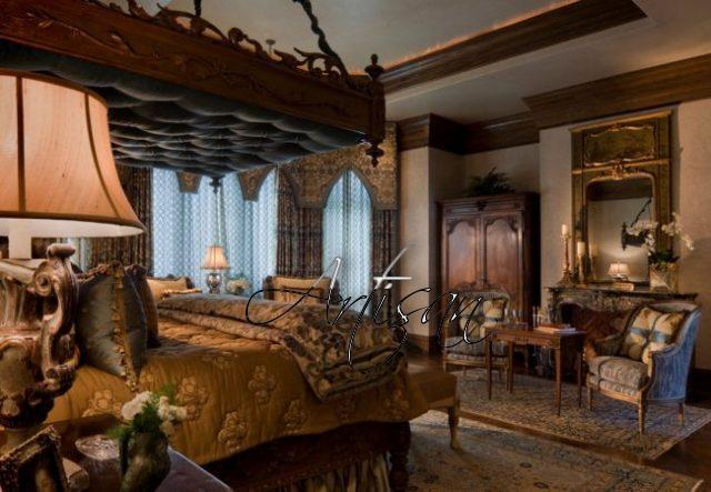 Для обстановки квартиры используется очень массивная окрашенная в тёмные тона мебель