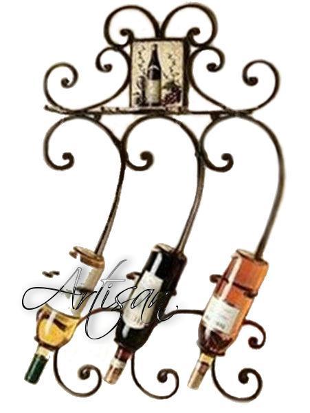 Настенный кованый держатель для бутылок