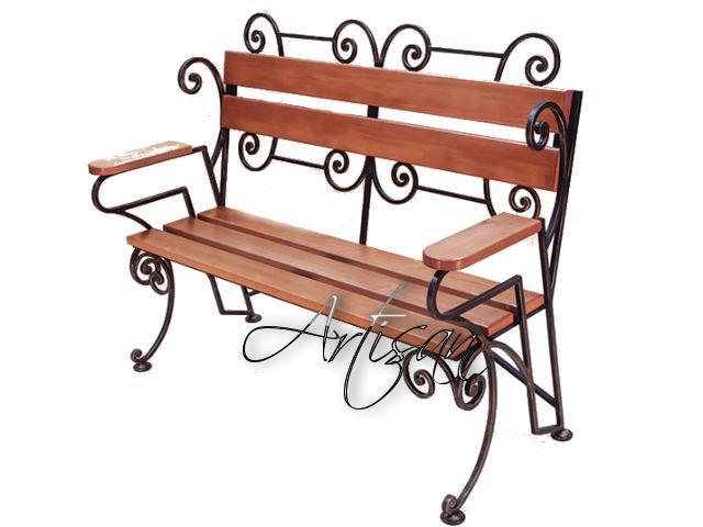 Кованая скамейка для сада. Лаконичный дизайн