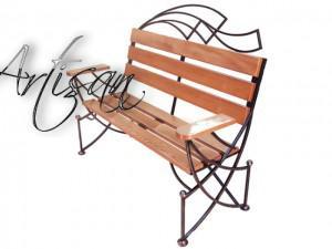 Кованая скамейка для сада, современный дизайн