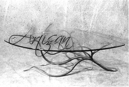 Журнальный столик художественная ковка, стеклянная столешница, стиль ар-нуво