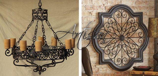 Массивная люстра из кованого металла – традиционный атрибут интерьеров в тосканском стиле