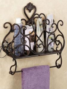 Настенный держатель для полотенца с этажеркой